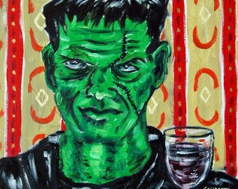20% off frankenstein at the wine bar art print on Tile coaster gift  modern folk pop art JSCHMETZ