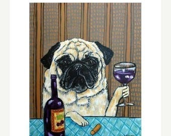 20% off pug at the wine bar dog art signe art print 11x14
