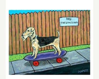 Airedale Terrier Riding a Skateboard Dog Art Print   JSCHMETZ modern abstract folk pop art AMERICAN ART gift