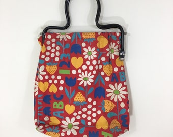 60s 70s Flower Power ABC 123 Red Floral Shopper Tote Bag Purse with Plastic Handles, Large Size