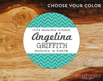 "Personalized address labels with color options for snail mail // gifts for her // return to sender // consultant // ""Double Chevron Fun"""