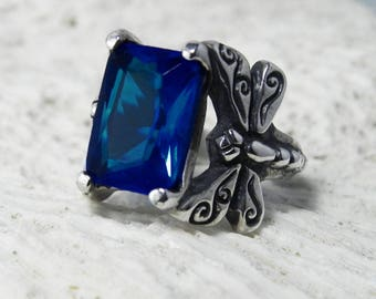 Dragonfly Ring Silver - Blue Sapphire Ring - Silver Sapphire Ring - Sapphire Dragonfly Ring - Silver Dragonfly - September Birthstone -
