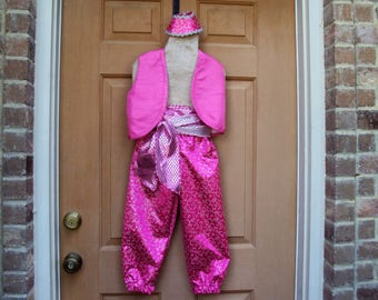 Pink Shimmer and Shine, Genie,Aladdin Costume, genie pants, vest, sash and pony tail cap, girls size 5/6