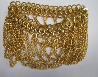 Vintage Fringed Gold Chain Bracelet