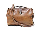 Vintage Super Worn In  Brown Leather Metal Frame Briefcase Work Bag