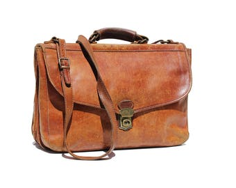 Vintage Italian Brown Leather Messenger Satchel Bag
