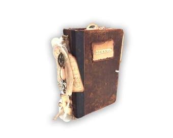 Altered Book Journal, One of a kind, Travel Journal, Vintage Book Journal, Smash Journal, Handmade leather Journal secret pocket journal