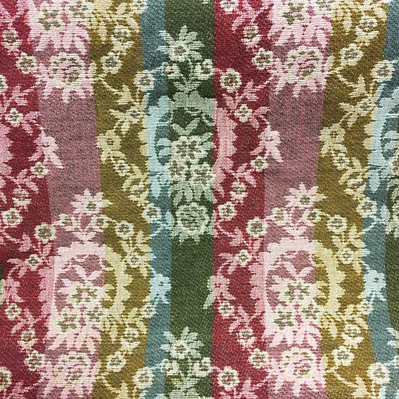 4 YARDS of Vintage Thick Heavy Textile Tapestry Fabric with Victorian Floral Pattern 54.5 inches wide 2-sided - Great for various Projects