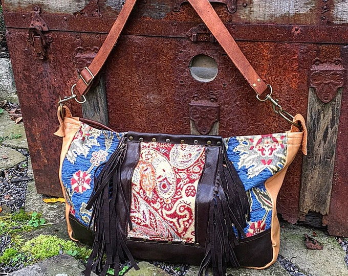 Colorful Fabric & Mixed Leather Hobo Slouch Shoulder Bag ~ Leather Fringe, Adjustable and Removable Leather Strap, Ready to Ship to You