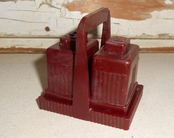 Vintage Art Deco  Plastic Salt Pepper Shaker with Stand Brown