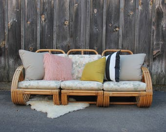 Boho Rattan Bamboo and Rattan Modular Sofa made by Calif Asia 1960 Pretzel Arms Loveseat Couch