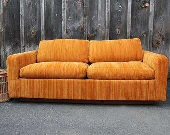 Orange Velvet Milo Baughman Rolling Walnut Base Midcentury Modern Loveseat (2 Available)