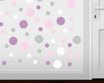 WEEKEND SALE Set of 60 - Baby Pink / Light Grey / White / Lilac Circles Vinyl Wall Graphic Decals Stickers shapes polka dots round