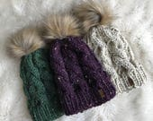 Custom Made Womens Cable Knit Hat