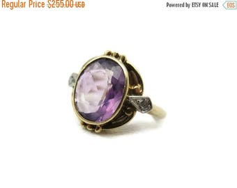OnSale Art Nouveau Amethyst Ring - Diamond Accents, 10k Gold Victorian, February Birthstone Jewelry, Engagement Ring