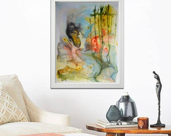 original paper painting, Abstract Painting on paper, yellow blue painting, original abstract painting on paper, reef ocean art