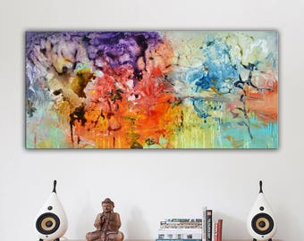 Red orange purple Abstract Painting, large original art Painting, blue purple red, colorful painting, colorful abstract lobby office