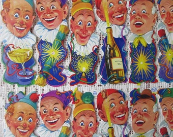 Vintage England Die Cut Paper Scraps New Years Clowns Out Of Print  883