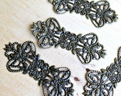 Flower and Leaf Bow-tie Shape Antique Bronze Metal Filigree Embellishment - 1 piece