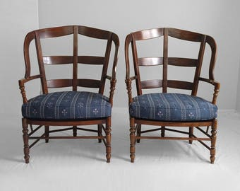 "43"" BERNHARDT french country rustic ladder back wing chairs"