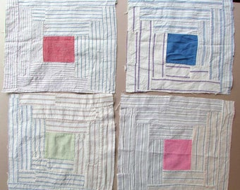 Quilt Squares,  4 Vintage 1930-40's Cotton Shirting Fabrics Patchwork Log Cabin Design 12 Inch Quilt Squares, Time Worn. Primitive, Recycled