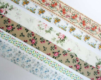 Vintage Floral Fabric Decor Ribbon Pack, 6 Different 1980's Vintage Fabric Ribbon Trims in Flower Patterns, 5 Feet of Each, 30 Feet Total