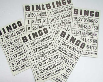 6 Vintage Black and White Bingo Game Cards for Scrapbooks, Journals, Crafting, Paper Ephemera, Lotto Cards