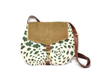 satchel • waxed canvas crossbody bag - leaf print • hand printed natural canvas - olive green leaf print - waxed canvas - fall leaves
