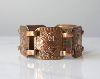1920s Bracelet / Vintage 1920s Egyptian Revival Bronze Link Bracelet / Sphinx and Pyramids Egyptian Style 20s Bracelet
