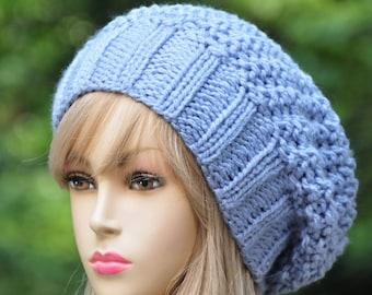 Lavender Slouchy Hat, Slouchy Beanie Hat, Reversible Winter Hat, Women Slouchy Hat, Vegan Knit Sloucy Hat, Knit Beanie Hat, Chunky Knit Hat