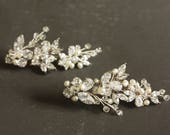 Statement Rhinestone, Freshwater Pearl and Swarovski Crystal Bridal Branch Post Dangle Earrings