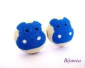 Hippo earrings - Blue hippo stud earrings - Blue hippo posts - Blue hippo post earrings sf669
