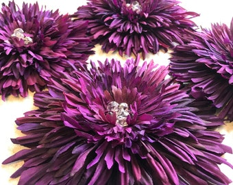 Silk Gerbera Spider Daisy in your Choice of Colors-Bridal Belt Pin-Hairpiece-Shown in Verigated Purple-CRBoggs Designs Original