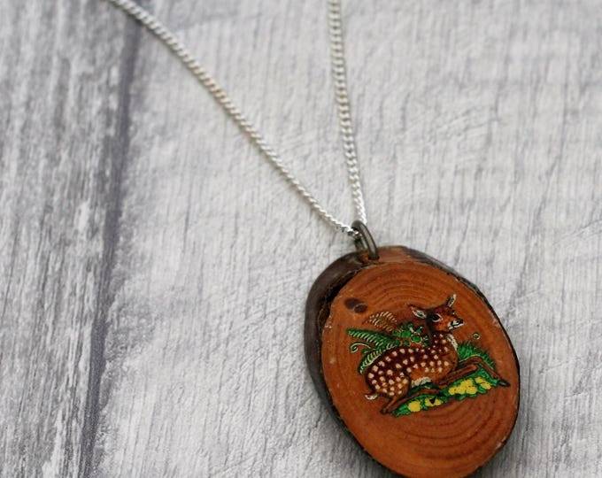 Fawn Necklace, Woodland Jewelry, Wood Jewelry, Deer Pendant