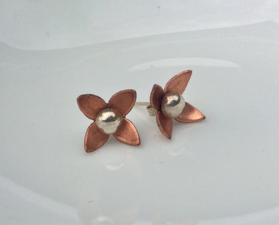 Copper Earring Jackets with Sterling Silver Ball Studs
