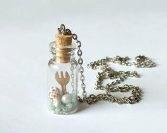 Inspired Disney Little Mermaid Glass Bottle Jar Necklace - Ariel Beach Ocean Sea Dinglehopper fork - One of a Kind!