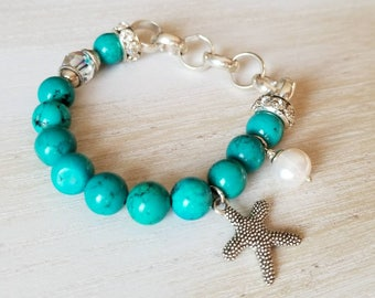 turquoise bracelet, beach jewelry, starfish charm bracelet, beaded bracelet, mothers day gift mom gifts from daughter, gemstone bracelet