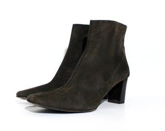 1990s Coach Brown Suede Chelsea Ankle Boots