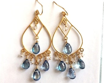 QUICKIE SALE 15% OFF, Blue Topaz and Herkimer Diamond Goddess Earrings- Gold