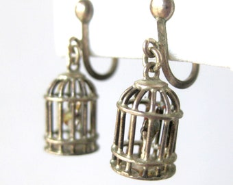 Vintage STERLING Silver Birdcage Earrings Novelty VLV Caged Bird Dangles in Sterling Silver / Dainty Earrings / Screw Back / Vintage Jewelry