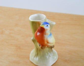 Vintage Czechoslovakia Bud Vase • Blue Bird  Double Bud Vase