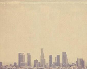 SALE photography, Los Angeles photograph, Southland, downtown skyline California, cold urban cityscape winter grey buildings, LA, unisex