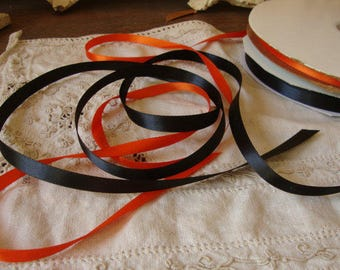 Halloween ribbon Black and orange ribbon satin 6 yards Halloween party favor crafts supplies package ties gift wrapping floral ribbon