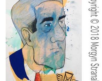 """Original OOAK Mixed Media Drawing - Disgusto series - """"Mueller"""""""