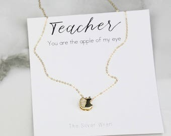 Teacher Gift, Jewelry Gift, Gift for Teacher, Apple Gift for Teacher, Gift from Student, Dainty necklace, Gift for Women, Gift under 30