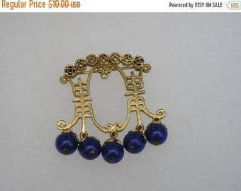 ON SALE Asian Chinese  Gold tone & Blue Beaded Drop Pin Brooch