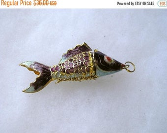 ON SALE Vintage Articulated Large Ornate Enamel Chinese Fish Pendant