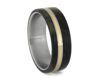 Buckeye Burl Wood Wedding Band, Titanium Ring With Bronze Accent, Men's Wedding Jewelry