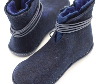 Handmade felted wool ankle boots eco design rubber soles outdoor women shoes ASB1c