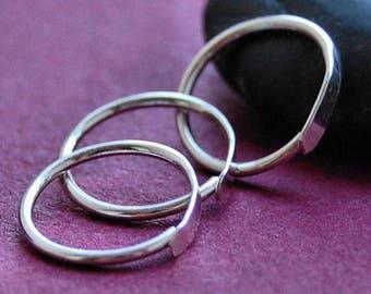Multiple Piercing Hammered Silver Set of 3 Hoop Earrings * Cartilage Tragus Daith Helix * Sleeper Hoop Earrings * Choose Your Size